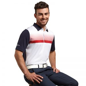 g.Leo printed stripe polo shirt (MSP7425-LEO)